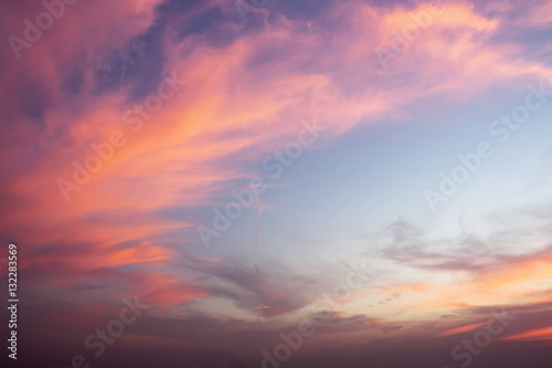 Dramatic color of Sky and twilight cloud background. Poster