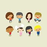 Cute cartoon boys and girls. Vector clip art illustration