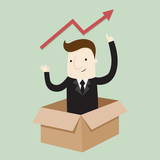Businessman open box to take a profit ,vector illustration business cartoon