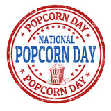 National popcorn day sign or stamp