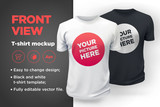 Men's white and black t-shirt with short sleeve mockup. Front view - 132294983