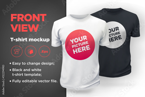 Men's white and black t-shirt with short sleeve mockup. Front view