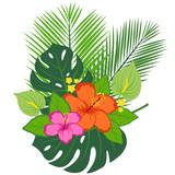 Tropical plants and flowers arrangement.