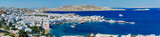 Panoramic view of sunrise over Mykonos port, Mykonos island, Cyclades archipelago, Greece. - 132306961