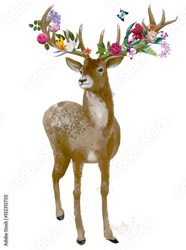 Fotobehang Hipster Hert beautiful deer with floral wreath