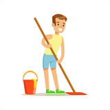 Boy Cleaning Floor With The Mop Smiling Cartoon Kid Character Helping With Housekeeping And Doing House Cleanup