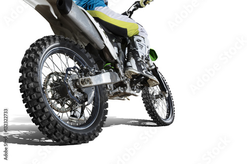 Poster Dirt bike and rider isolated on white