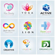 Detaily fotografie Logo template  collection, Yoga logo, Beauty logo, lion logo, foot care logo, infinity logo template, vector logo set.