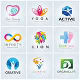 Logo template  collection, Yoga logo, Beauty logo, lion logo, foot care logo, infinity logo template, vector logo set.