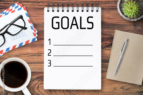 Poster Notebook page with life goals concept.
