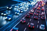 Autobahn mit unterschiedlichen Farben der Richtungen