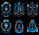 Set of luxury heraldic vector templates. Collection of vector sy