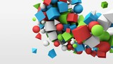 3d motion graphics, dynamic geometric shape cubes, cones, spheres and other. Abstract background