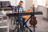 Brilliant musician recording music at home