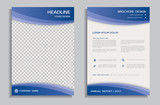 Blue flyer design template - brochure, front and back page
