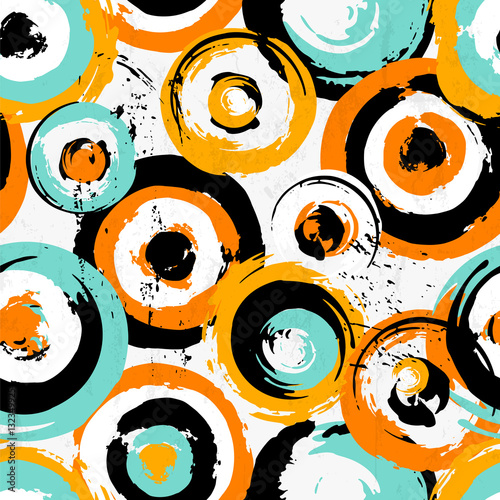 Fotobehang Abstract met Penseelstreken seamless background pattern, with circles, strokes and splashes
