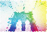 Brooklyn Bridge halftone silhouette in happy pop colors. - 132350538