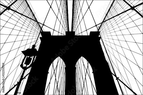 Brooklyn Bridge silhouette vector illustration.