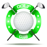 Golf clubs and ball with ribbons. Sporting symbol. Vector Illustration isolated on white background.