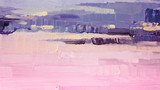 Brushstrokes of pink and purple oil paint on canvas. Abstract background. - 132364903
