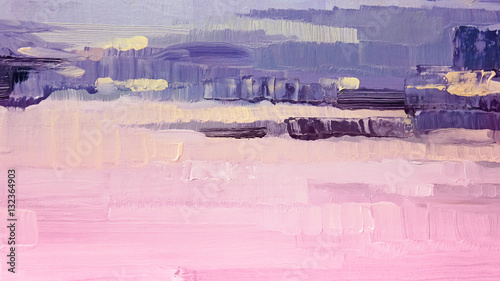 Brushstrokes of pink and purple oil paint on canvas. Abstract background. © milka-kotka