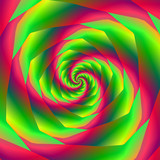Saw Tooth Spiral in Red and Green / An abstract fractal image with  a saw cut spiral in red green and yellow. - 132366339
