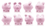 Pink piggy bank set isolated on white background