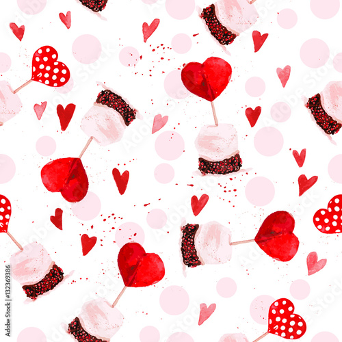 Cotton fabric Watercolor artistic hand drawn Valentine day design element.