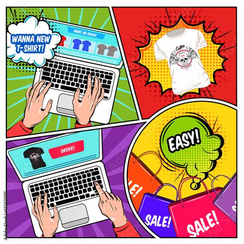 Fotobehang Pop Art Online Shopping Comics Composition