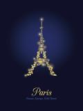 Vector Golden Glowing Eiffel Tower in Paris Silhouette At Night. Paris. French Landmark On Dark Blue Background.