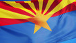 Arizona (U.S. state) flag waving against clear blue sky, close up, isolated with clipping path mask alpha channel transparency, perfect for film, news, composition