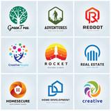 Set of logo template, Tree logo, Real estate logo, Home logo, creative design logo template.