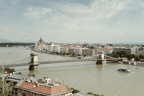 Poster View of Danube River and Parliament Building