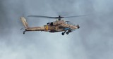 AH-64 Apache attack helicopter firing 30mm canon during combat maneuvers