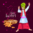 Detaily fotografie Happy Lohri festival of Punjab India background