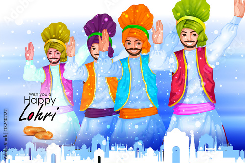 Poster Happy Lohri festival of Punjab India background
