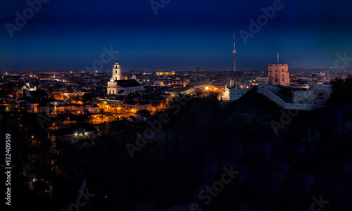 Foto op Canvas Milan Panorama of the Vilnius Old Town at dawn time
