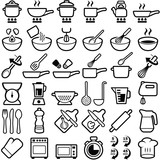 Fototapety Cooking and kitchen icon collection - vector outline