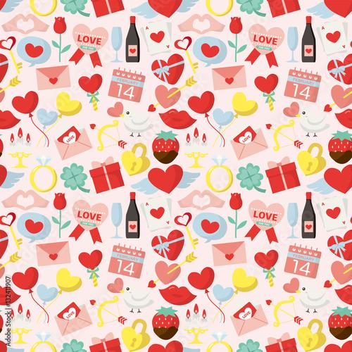 Cotton fabric バレンタインデーのシームレスパターン背景素材
