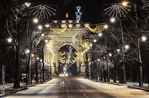 In de dag The Arch of Triumph (Arcul de Triumf) from Bucharest Romania