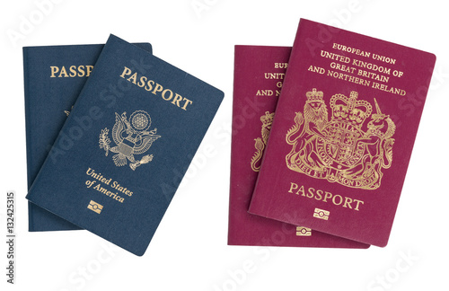 Poster Isolated US and UK passports