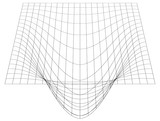 Bent grid in perspective. 3d mesh with convex distortion - 132427508