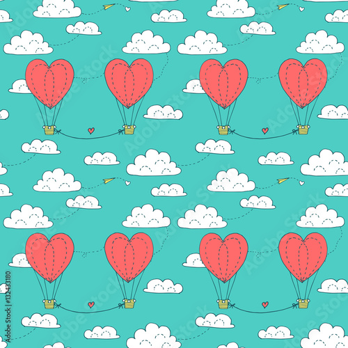 Cotton fabric Valentines day seamless pattern with couple flying in the sky heart shaped balloons. Vector hand drawn illustration in minimalistic style, made with ink outlines