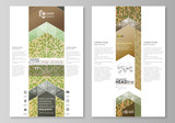 Blog graphic business templates. Page website template, vector layout. Abstract green color wooden design. Wood texture with leaves. Spa concept natural pattern in linear style.