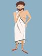 Постер, плакат: ancient greek philosopher vector cartoon