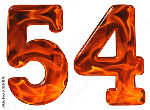Poster 54, fifty four, numeral, imitation glass and a blazing fire, iso