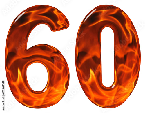 60, sixty, numeral, imitation glass and a blazing fire, isolated Poster