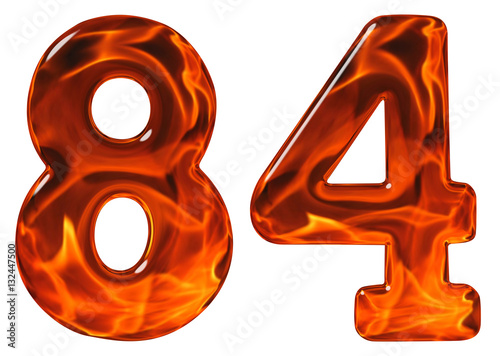 Poster 84, eighty four, numeral, imitation glass and a blazing fire, is