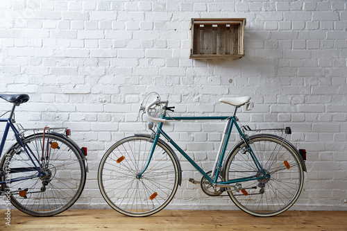 Poster vintage bicycle in whitebrick studio