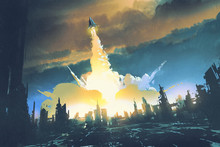 "Постер, картина, фотообои ""rocket launch take off from an abandoned city,sci-fi concept,illustration painting"""